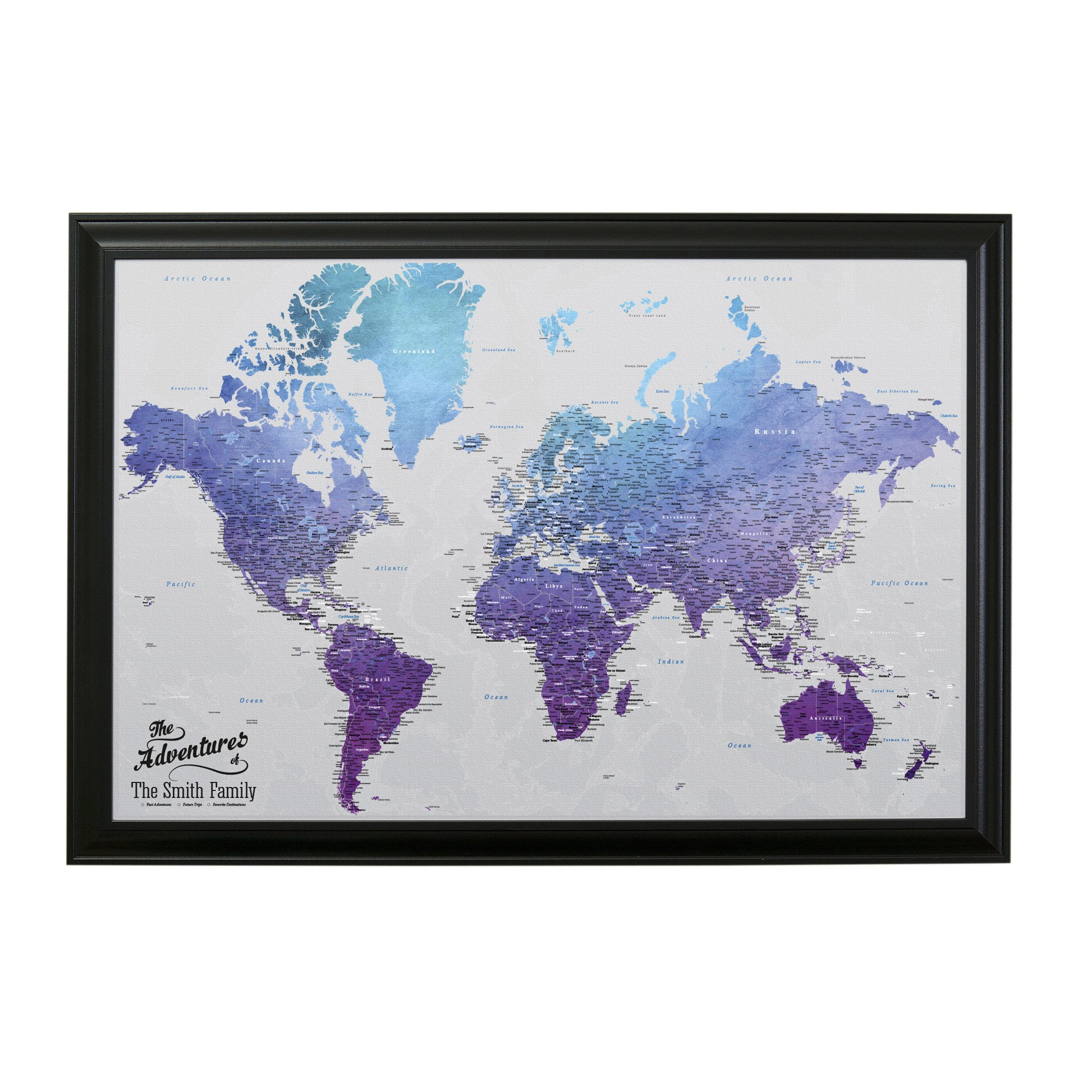 Canvas - Personalized Vibrant Violet World Push Pin Travel Map with Black Frame