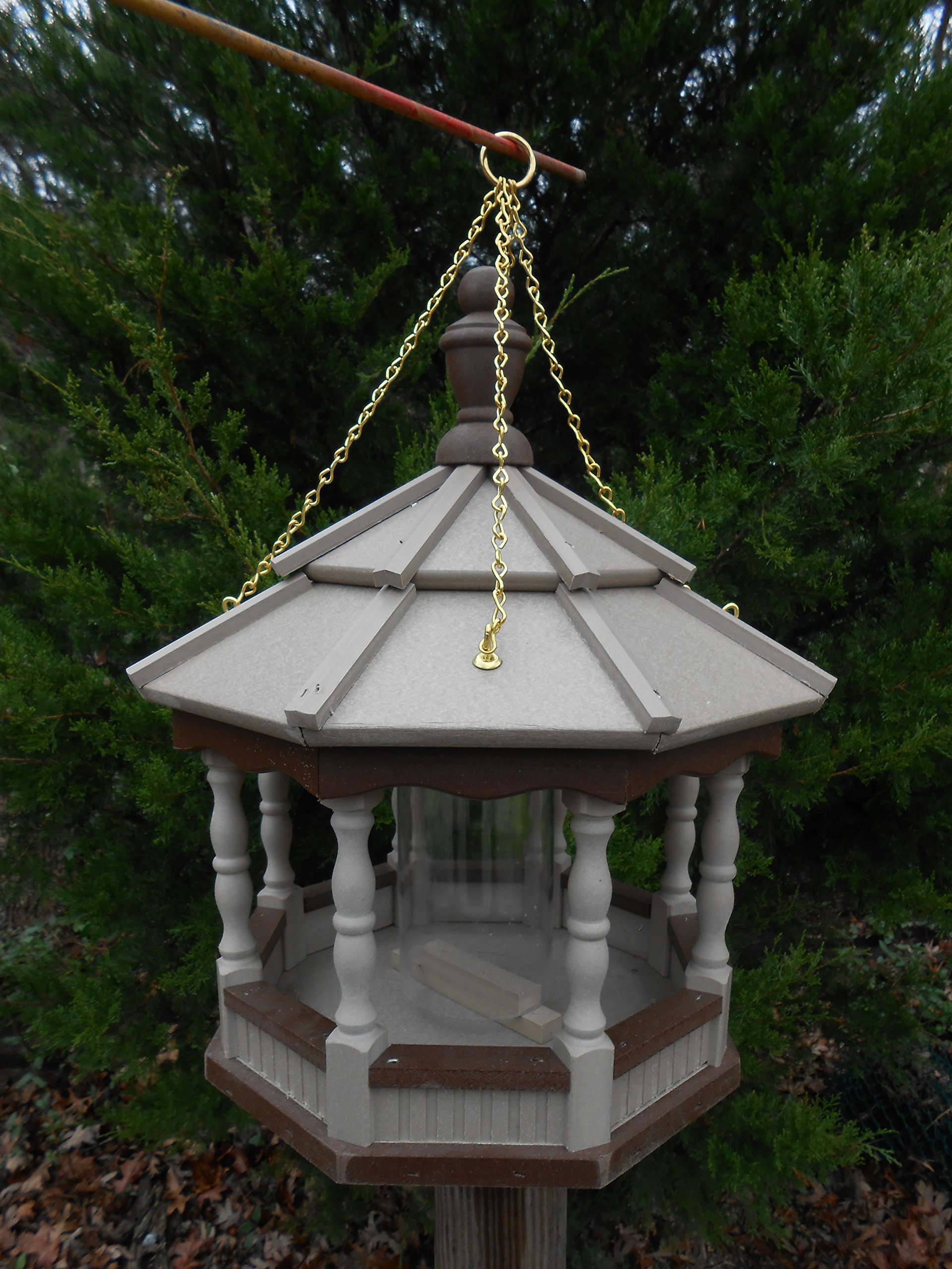 Hanging Spindle Poly Bird Feeder Amish Gazebo Handcrafted Homemade Clay/Brown Md