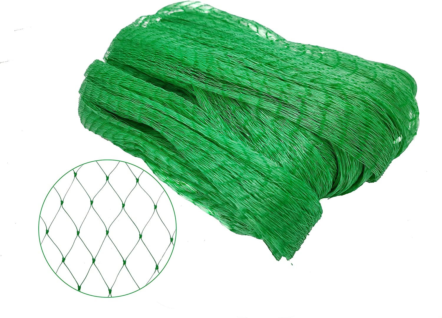 MM&HH Garden Bird Netting, Protect Fruits, Vegetables and Flowers from Animals' Attack , Pond Cover, 13x50ft with 100 PCS of Zip Green Ties