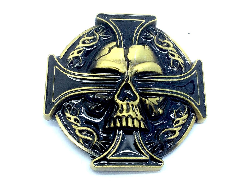 ca8f0bf9dba2 Tête de mort et croix celtique Biker Boucle de ceinture Red 80mm Wide 80mm  High Patch