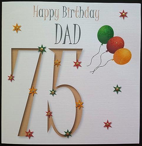 Amazon happy birthday card dad 75th birthday handmade happy birthday card dad 75th birthday handmade card bookmarktalkfo Choice Image