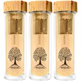 amapodo 3er-Pack Angebot Teekanne Edelstahl Tee-Sieb - Teebereiter 400ml BPA Frei Bambus-Deckel