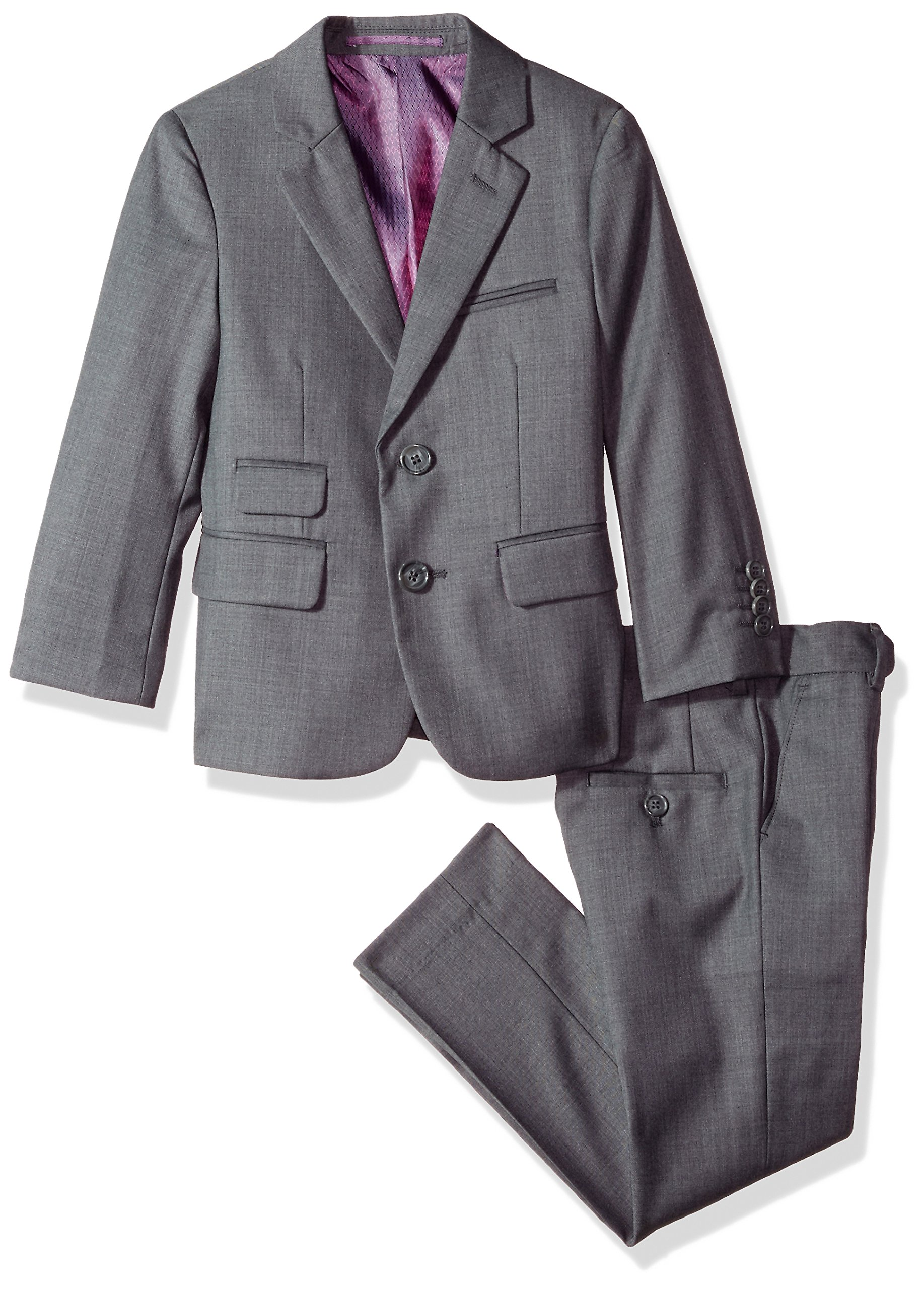 Isaac Mizrahi Little Boys' Solid 2pc Slim Fit Wool Suit, Charcoal, 5