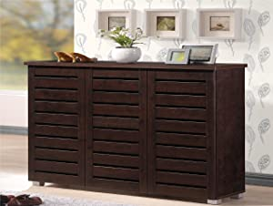 Baxton Studio Wholesale Interiors Adalwin Modern and Contemporary 3-Door Dark Brown Wooden Entryway Shoes Storage Cabinet