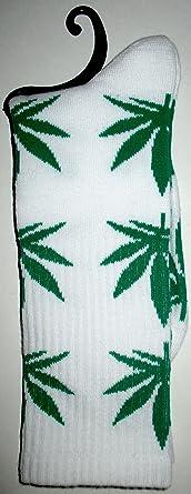 Calcetines Weed marihuana diseño blanco con verde hojas