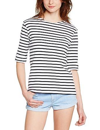 Armor Lux Damen T-Shirt 5409, Blanc (Bi9 Blanc/Rich Navy)