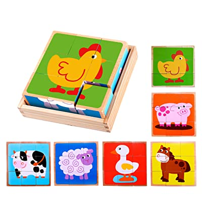 Premium Barnyard Animal Block Puzzle (6 in 1) with Wood Storage Tray for Preschool Age Toddlers 3, 4 - Colorful Solid Wooden Small Cube Farm Animal Pieces - Horse, Pig, Cow, Sheep, Duck, Chicken: Toys & Games