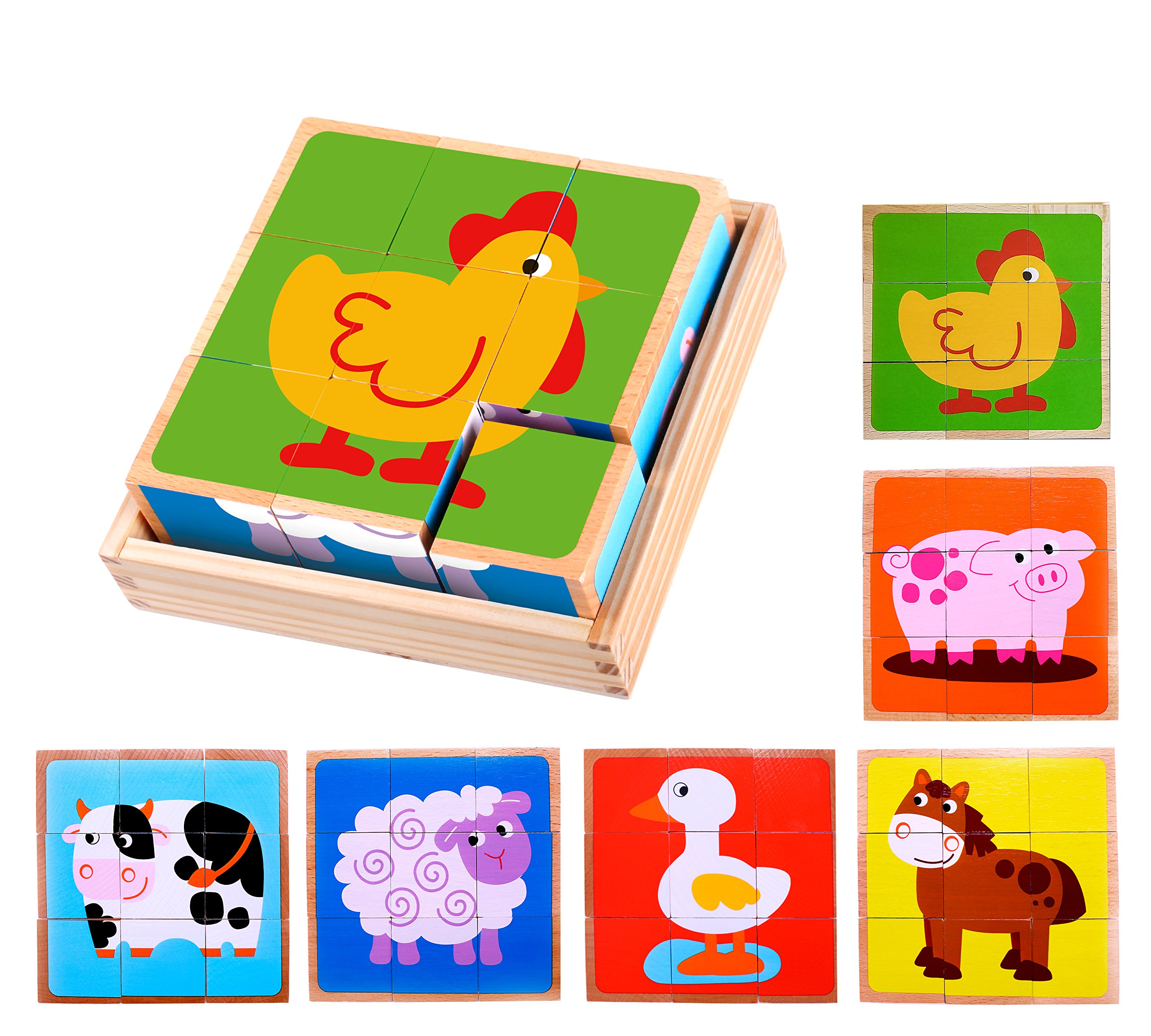Premium Barnyard Animal Block Puzzle (6 in 1) with Wood Storage Tray for Preschool Age Toddlers 3, 4 - Colorful Solid Wooden Small Cube Farm Animal Pieces - Horse, Pig, Cow, Sheep, Duck, Chicken by Cubbie Lee (Image #1)