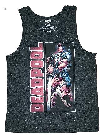 066e815c7 Amazon.com: Marvel Comics Deadpool Mens Sword Panel Black Tank Top ...