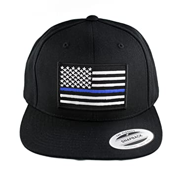 Flexfit Thin Blue Line Police American Flag Embroidered Patch Flat Bill  Snapback Cap (Black 1d9d515b92c