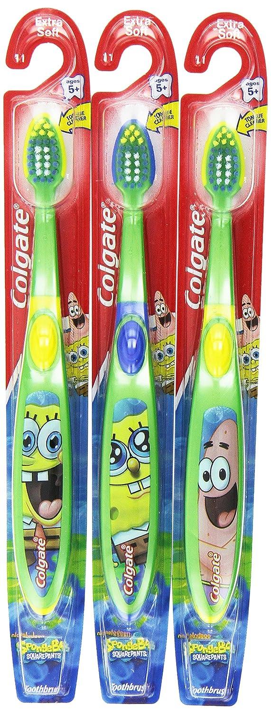 Colgate diseño de Bob Esponja Extra suave infantil con forma de cepillo de dientes especial para (paquete de 6 paquetes de varillas de): Amazon.es: Belleza