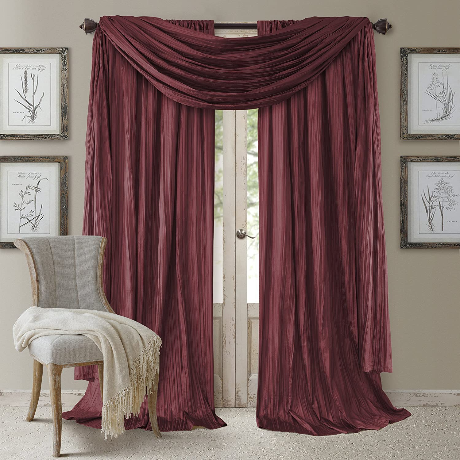 Elrene Home Fashions Venice Curtain Panels with Scarf Valance - Set of 3 - Panel 52