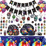 144pcs Among Us Birthday Party Supplies for 20 Guests, Among Us Party Decorations Included 7' 9' Plates, Cups, Tablecloth, Bi