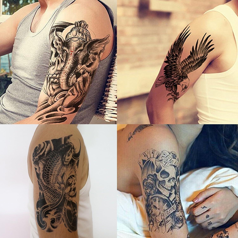 GIFT!Tastto 4 Sheets Temporary Tattoos of Dead Skull,Warrior Elephant,Koi Fish, Eagle Hawks with Gift