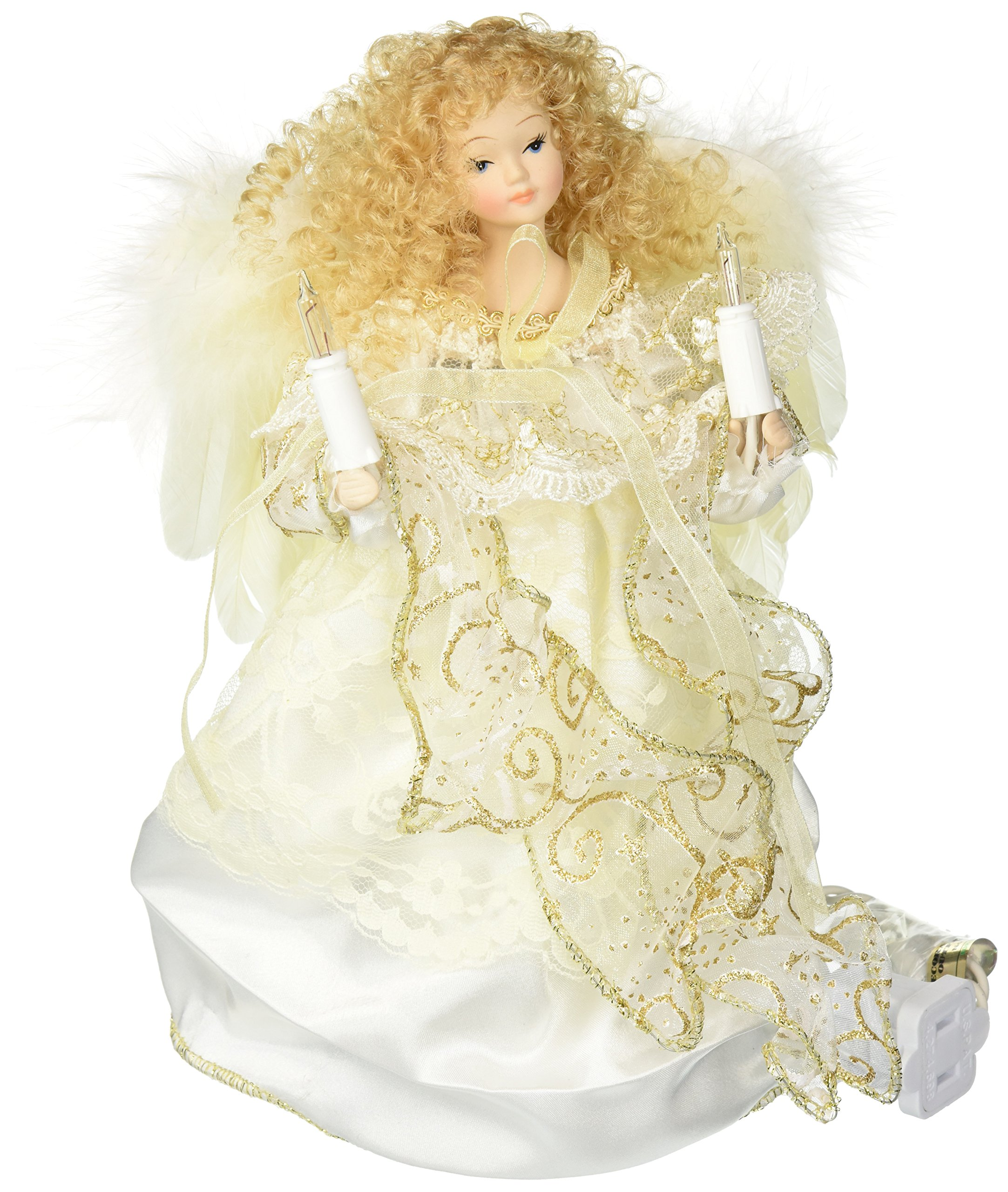 Kurt Adler 10-Light Angel Christmas Treetop Figurine, 9-Inch, Ivory and Gold