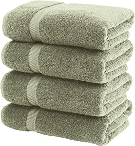 White Classic Luxury Bath Towels Large - Cotton Hotel spa Bathroom Towel | 27x54 | 4 Pack | Green