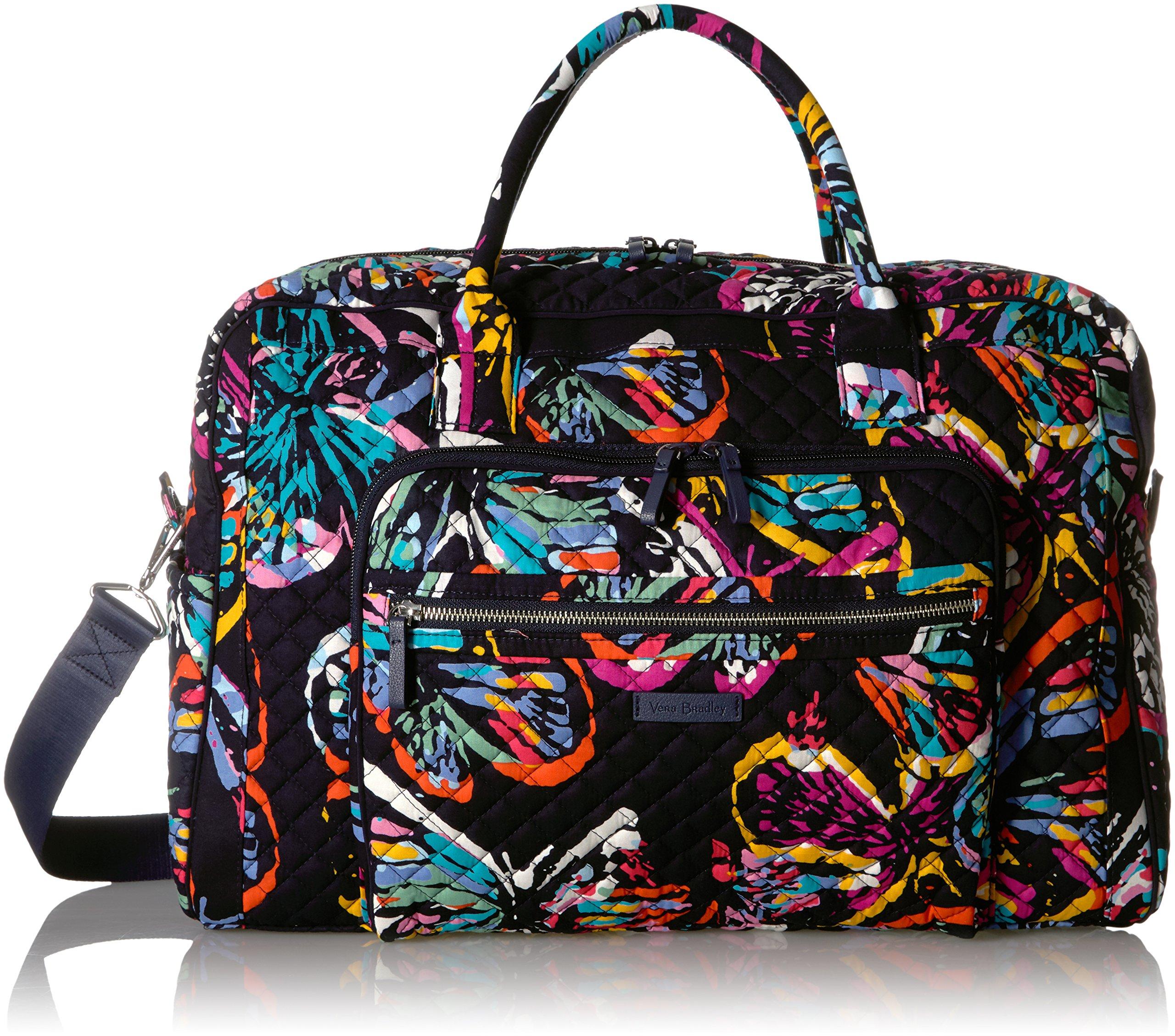 Vera Bradley Iconic Weekender Travel Bag, Signature Cotton, butterfly flutter