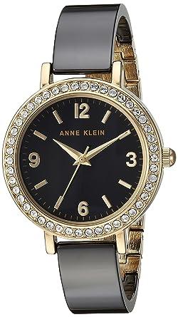 5edb52862 Anne Klein Women's Swarovski Crystal Accented Gold-Tone and Black Ceramic  Bangle Watch