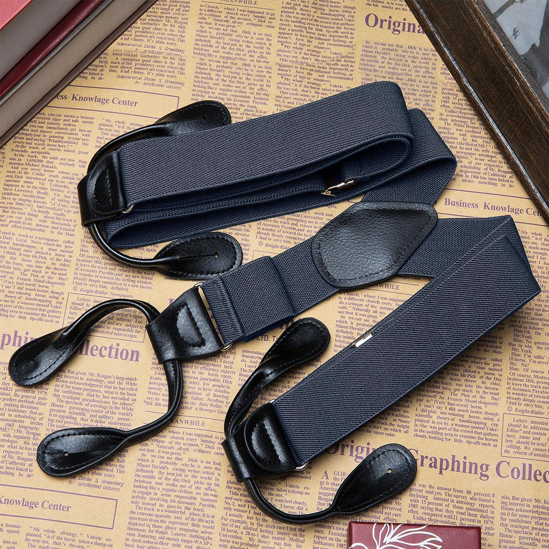 "Buyless Fashion 48/'/' Men/'s Elastic Adjustable 1 1//4/"" Y Back Braces Suspender Button End"