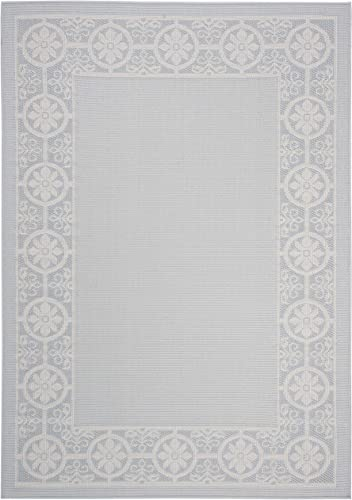 Safavieh BMU815M-4 Bermuda Collection BMU815M Light Blue and Ivory Area 4' x 6' Rug,