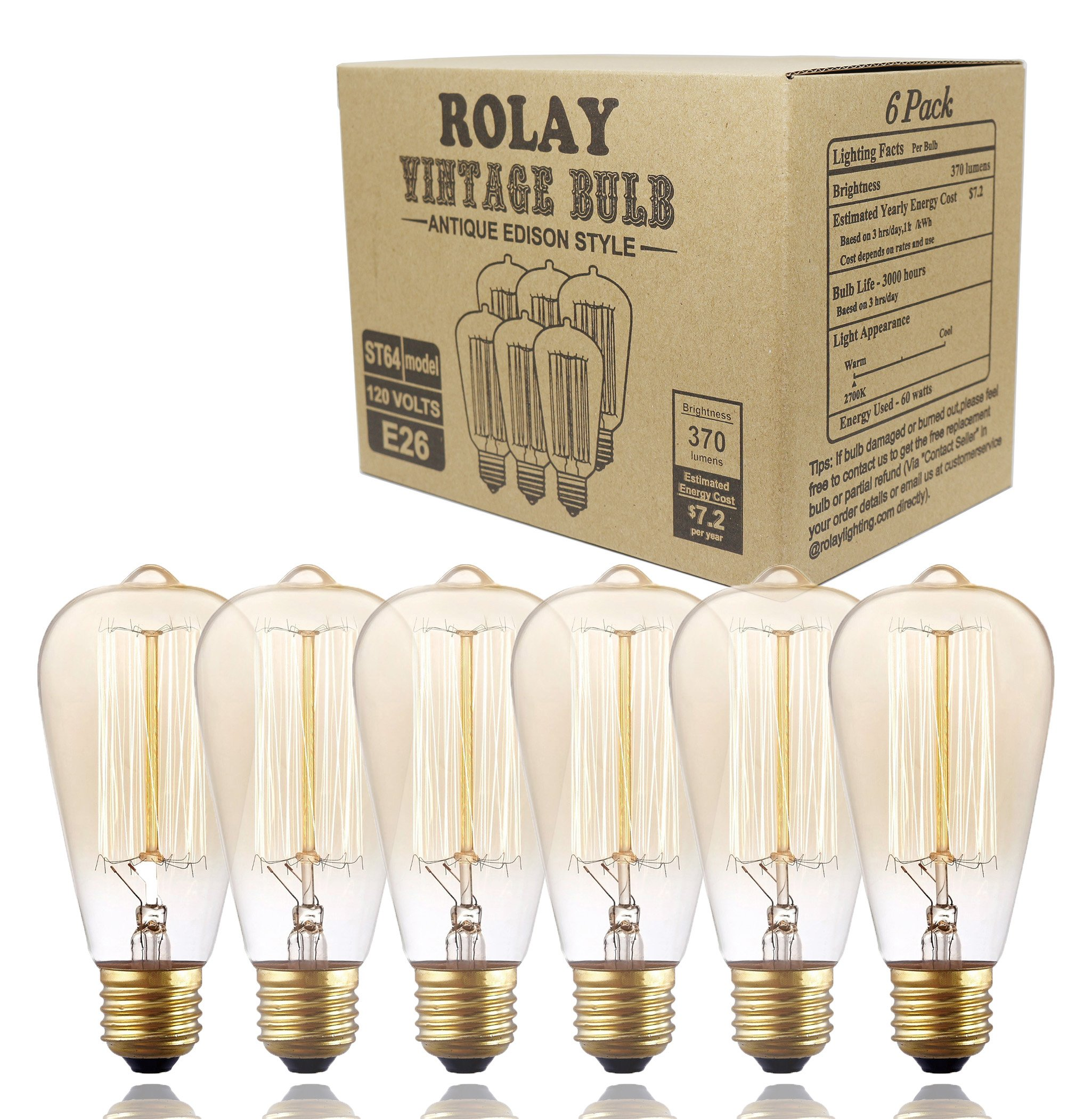 6 Pack, Rolay 25 Watt Vintage Edison Light Bulb with Squirrel Cage Filament, 110~130 Volts, E26 Base, 70 Lumens