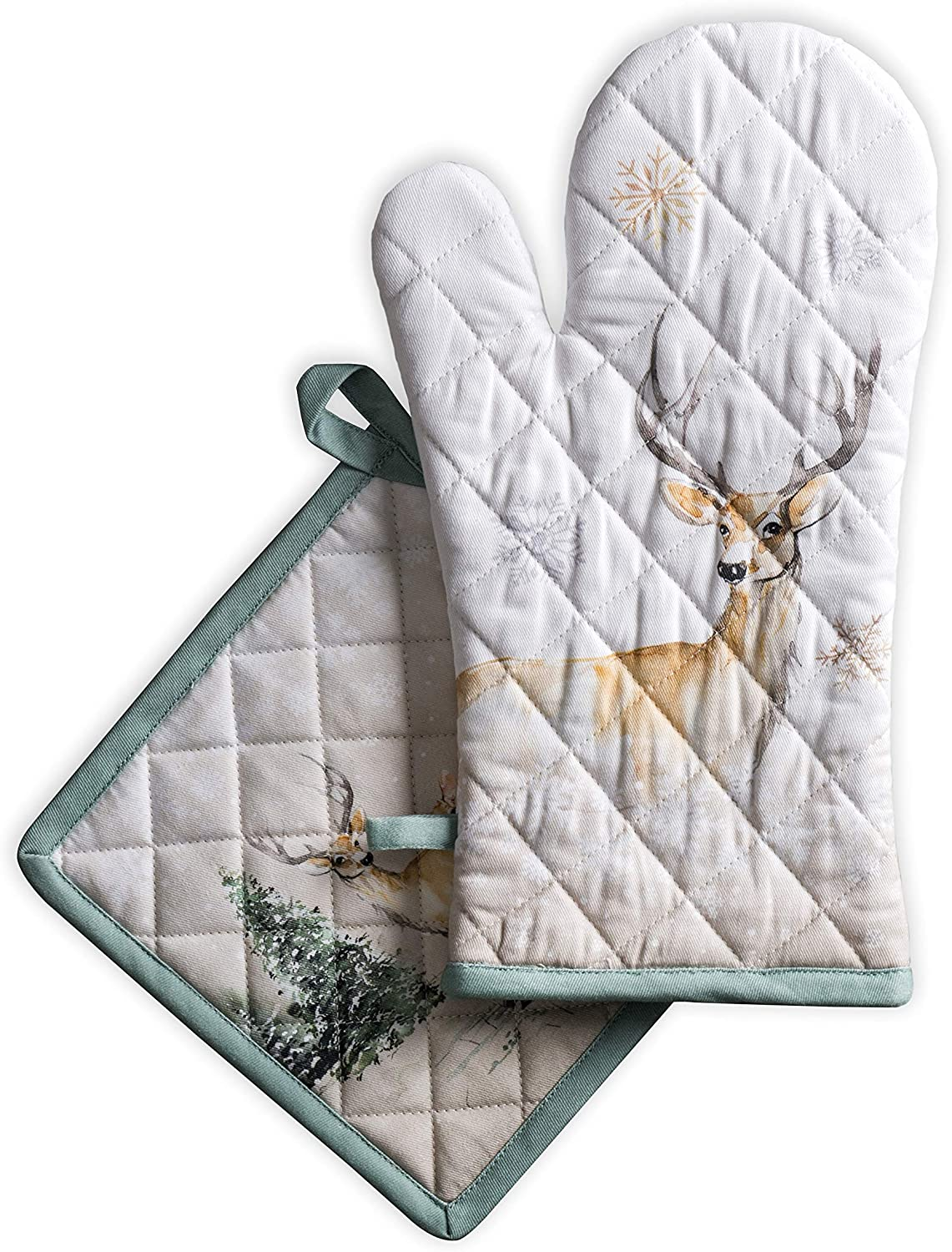 Maison d' Hermine Deer in The Woods 100% Cotton Set of Oven Mitt (7.5 Inch by 13 Inch) and Pot Holder (8 Inch by 8 Inch). Perfect for Thanksgiving and Christmas