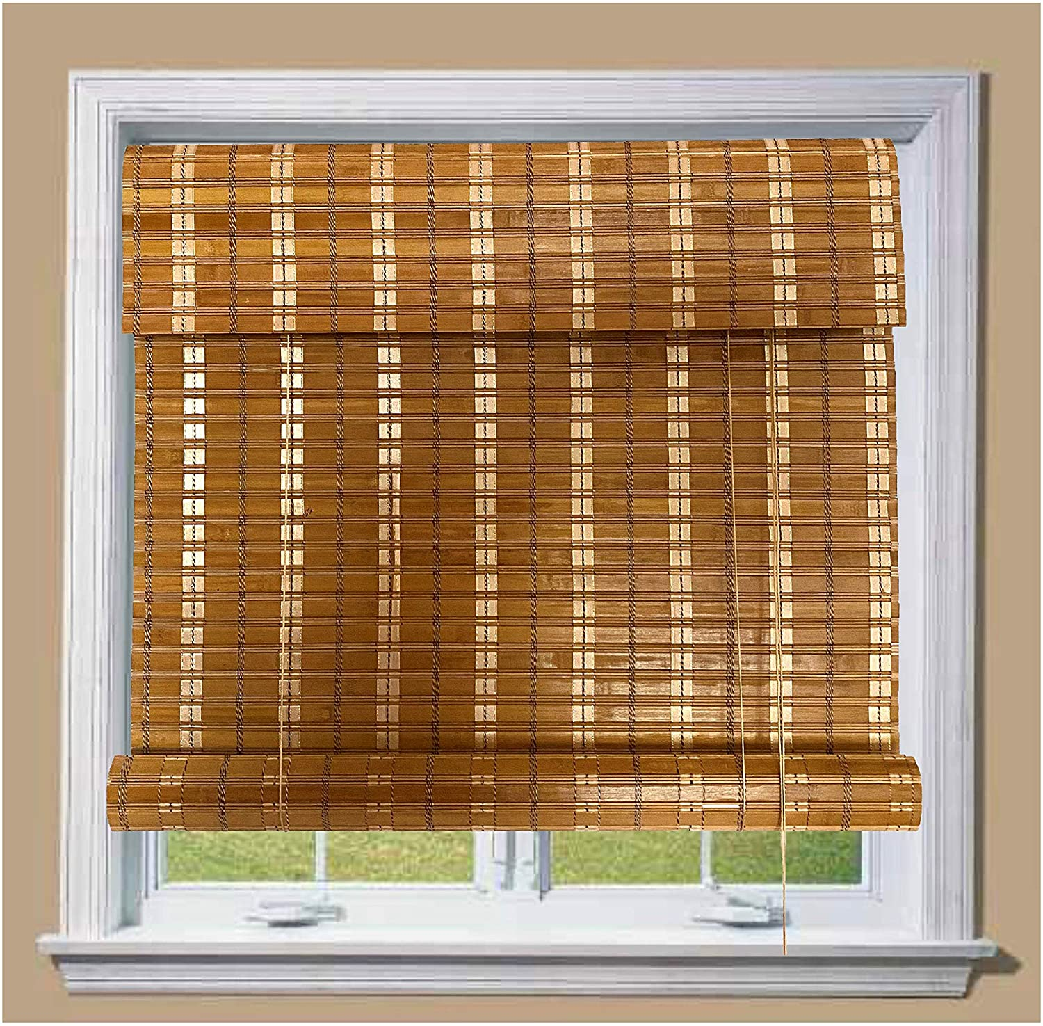 THY COLLECTIBLE Bamboo Roll Up Window Blind Sun Shade, Light Filtering Roller Shades with 8-Inch Valance - Tan Colored Bamboo (28