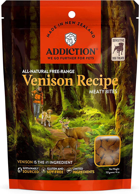 Addiction Venison Recipe Meaty Bites, All Natural Free Range Grain Free High Meat Dog Treats, 4 Oz.