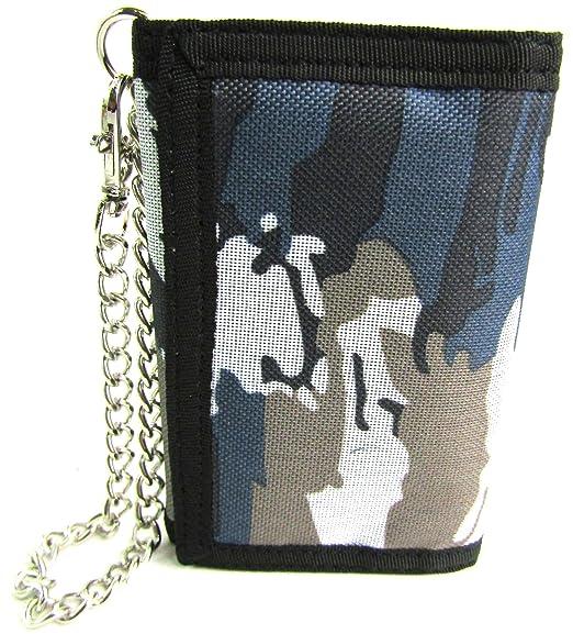 Mens niños damas camuflaje lienzo cartera monedero Monedero tarjeta de Crédito Soporte con cadena Gris Arctic Grey: Amazon.es: Ropa y accesorios