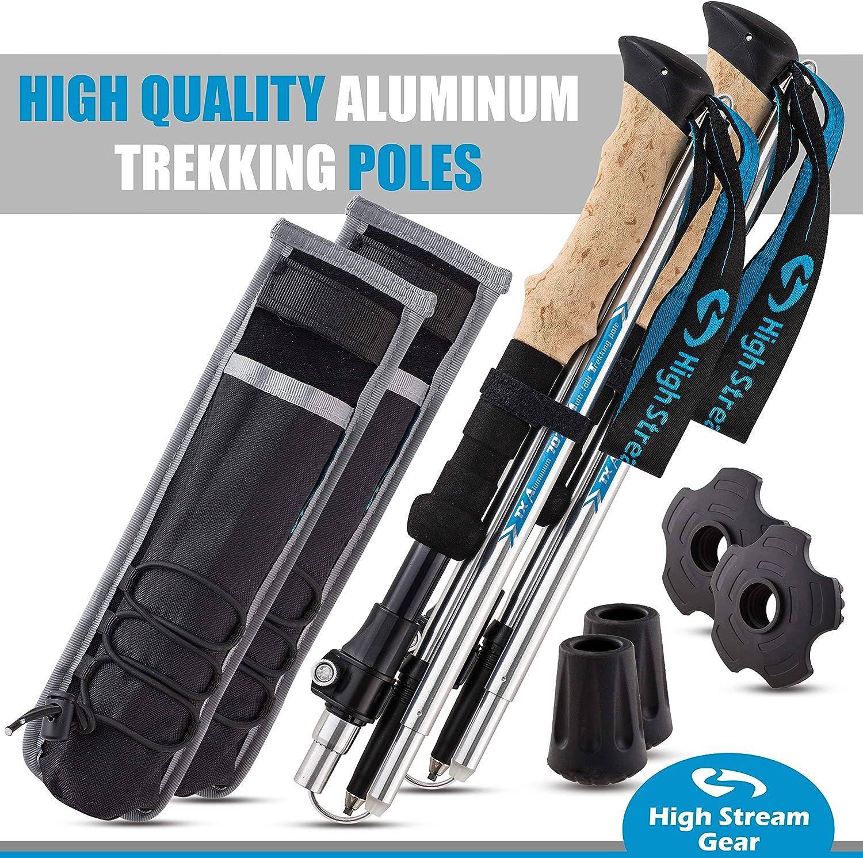 con cierre r/ápido y ajustable High Stream Gear accesorios para mochilero Bastones plegables para senderismo y senderismo 2 bastones plegables ligeros y plegables regalo para hombres y mujeres
