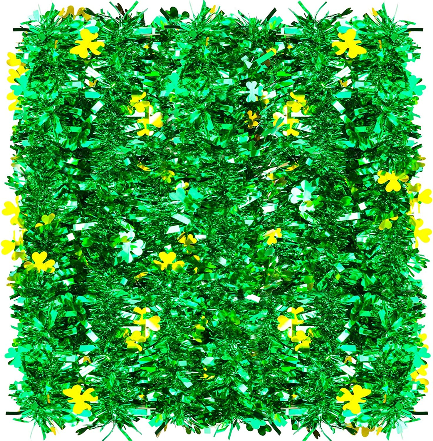 WILLBOND 26.2 Feet Shamrock Tinsel Metallic Garland St. Patrick's Day Tinsel Garland Green and Gold Shamrock Garland for Irish Party St. Patrick's Day Celebrations Indoor and Outdoor Decorations
