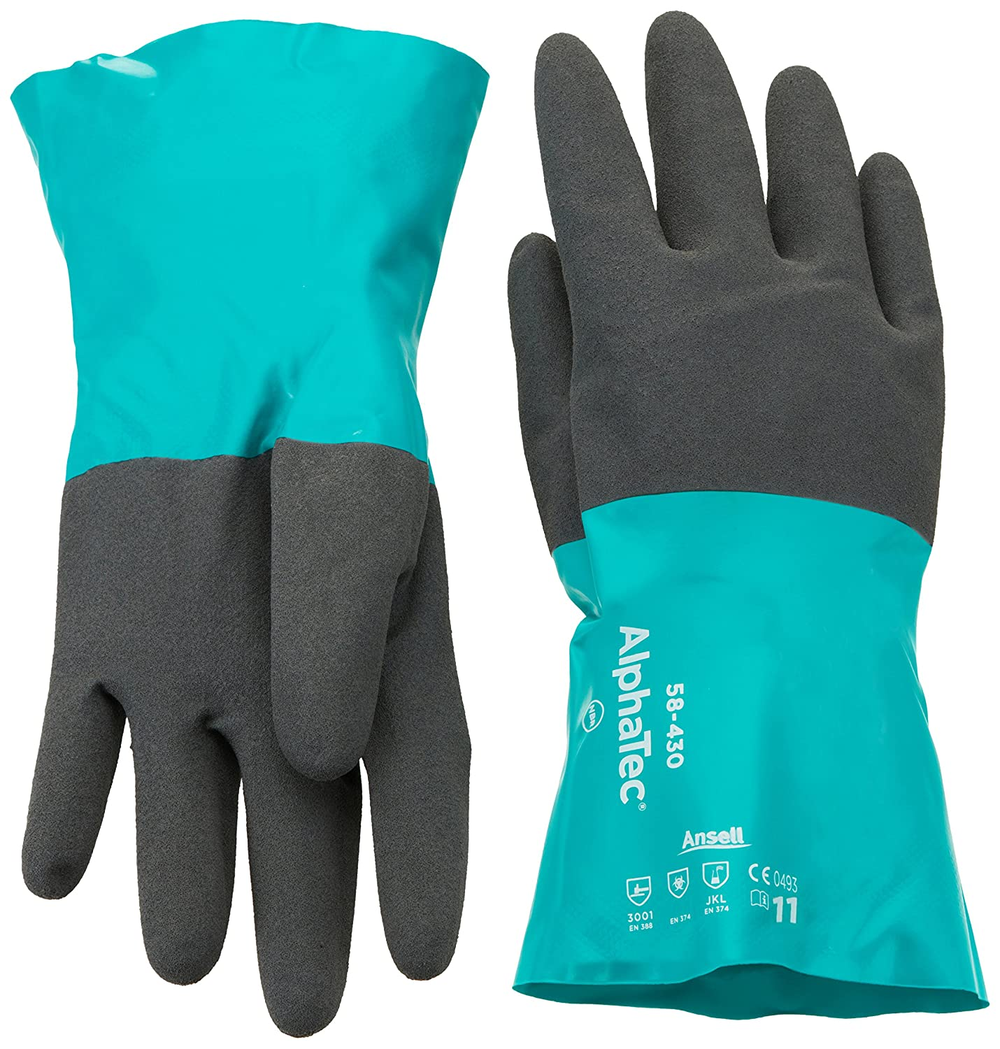 Ansell AlphaTec 58-430 Nitrile gloves, chemical & liquid protection, Green, Size 7 (Pack of 12 pairs) Ansell AlphaTec 58-430 / 7