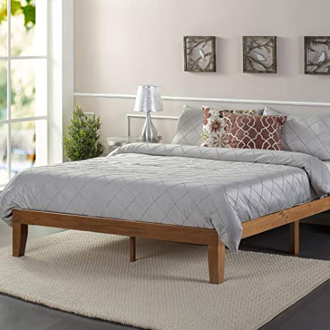 zinus alexia wood platform bed frame solid wood foundation no box spring needed wood slat support easy assembly rustic pine queen