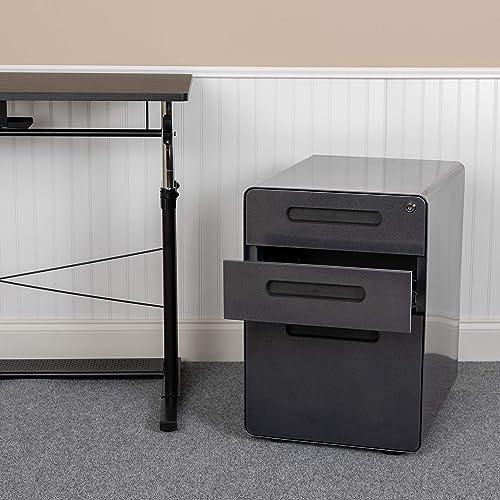 Flash Furniture Ergonomic 3-Drawer Mobile Locking Filing Cabinet with Anti-Tilt Mechanism and Hanging Drawer for Legal Letter Files, Black – HZ-AP535-01-BK-GG