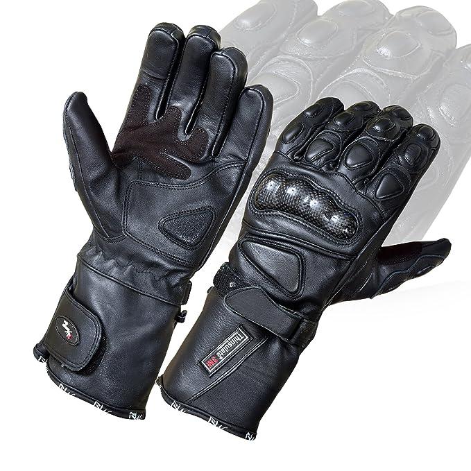 Térmica impermeable moto motocicleta guantes de medio dedo para Protección Negro negro