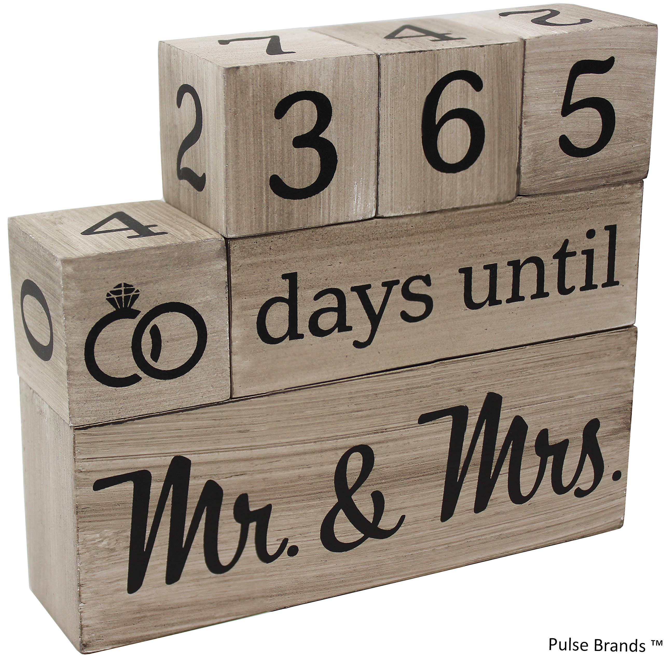 Wedding Countdown Calendar Wooden Blocks - Engagement Gifts - Bride to Be - Bridal Shower Gifts - Bride Gifts - Engagement Gifts for Couples - Engaged - Rustic Finish with Black Numbers by Pulse Brands