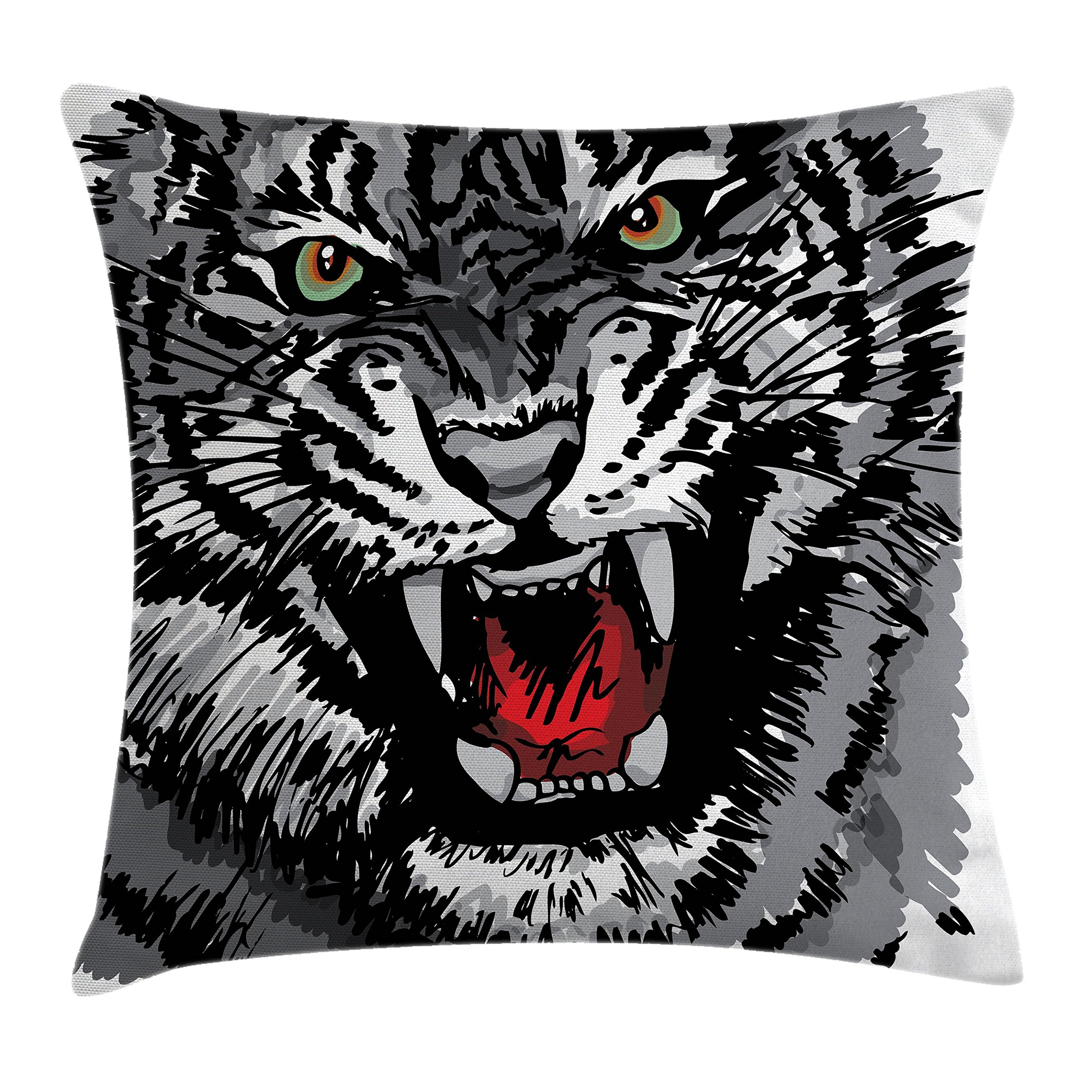 Ambesonne African Throw Pillow Cushion Cover, Image of Safari Tiger Territorial Predator Power with Unique Patterns Print, Decorative Square Accent Pillow Case, 18 X 18 inches, Grey Black White