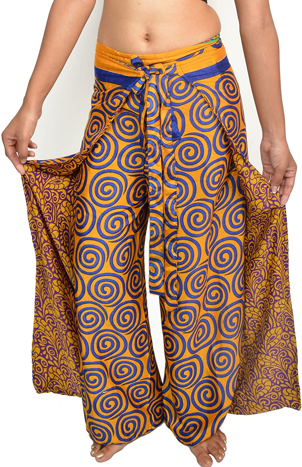 Wevez Pack of 3 Bohemian Hippie Gypsy Print Casual Wrap Pants: Clothing