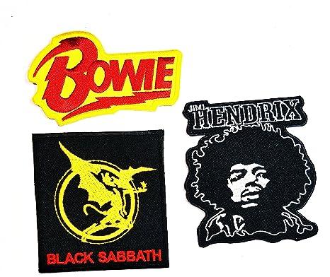 Música banda Set 3 pcs parche David Bowie Jimi Hendrix negro ...