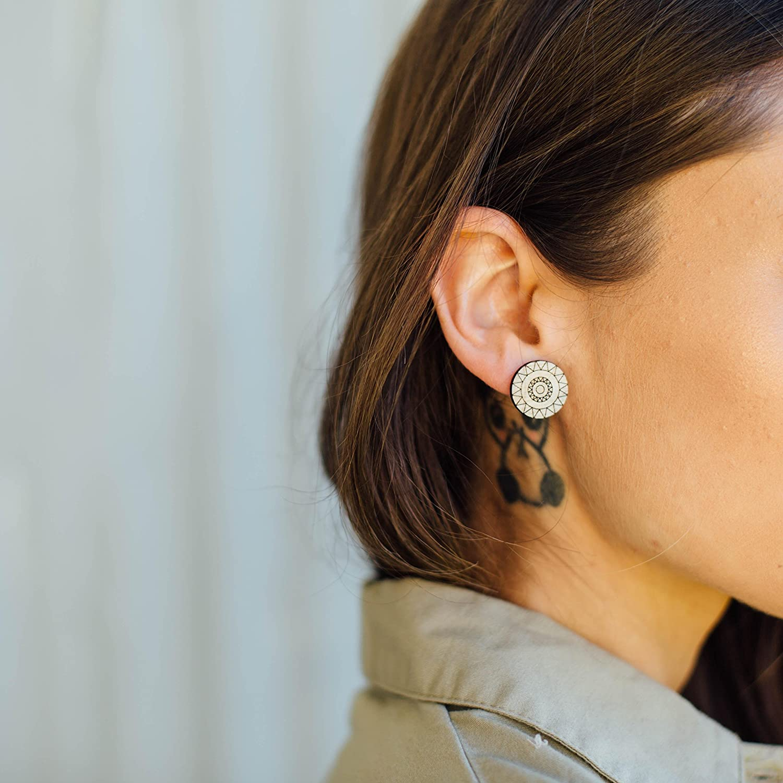 wood stud earrings ALLURE