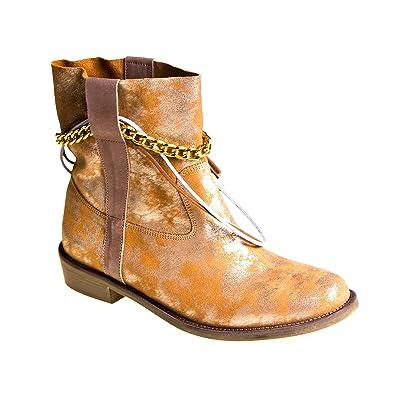 Cypres Damen Stiefel Leder Gold glänzend: : Schuhe