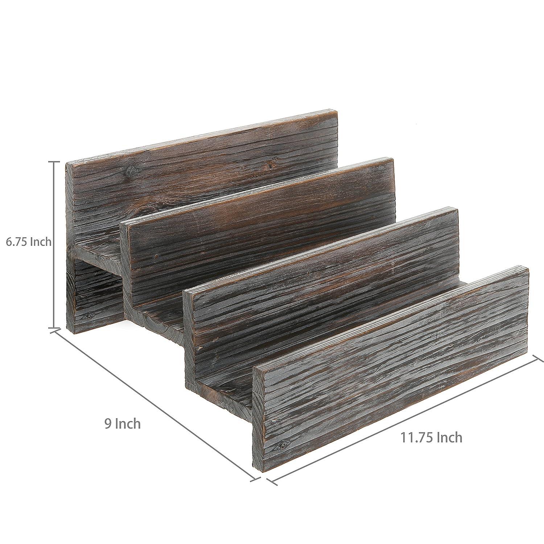 Rustic Style 3 Tier Stair Step Design Distressed Wood Spice Rack Jar Storage Organizer Shelf MyGift TB-KIT0377BRN