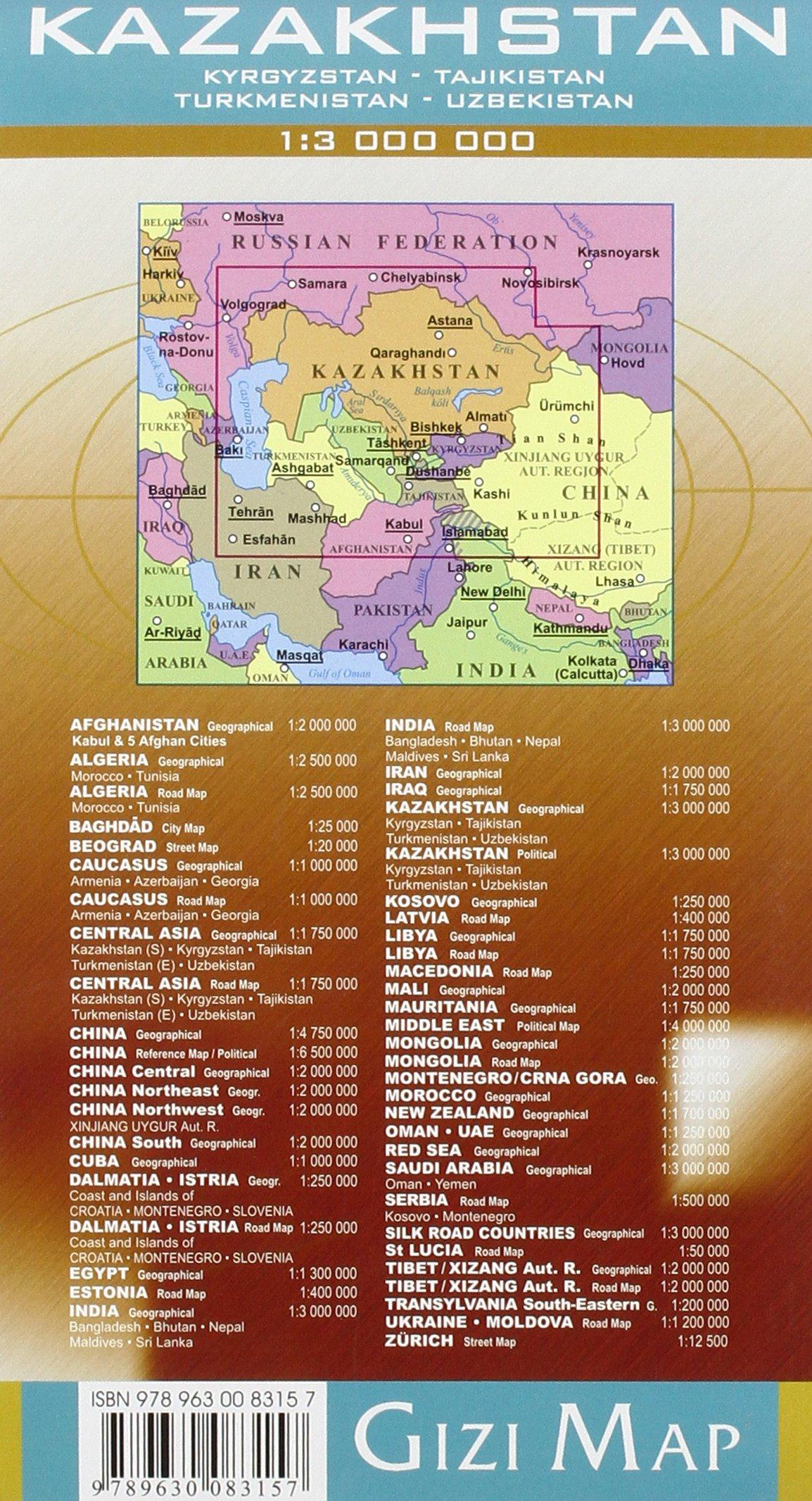 Kazakhstan, Kyrgyzstan, Tajikistan, Turkmenistan, Uzbekistan Map (English, German and Hungarian Edition)