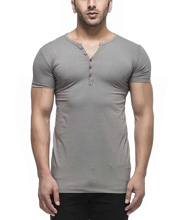 Tinted Men's Solid Henley Half Sleeve T Shirt by Tinted