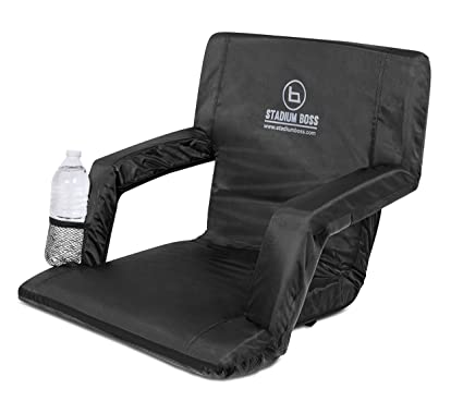 Stadium Boss Seat Reclining Bleacher Chair Folding with Back and Arms u2013 Padded Sport Chair Armrest  sc 1 st  Amazon.com & Amazon.com : Stadium Boss Seat Reclining Bleacher Chair Folding with ...