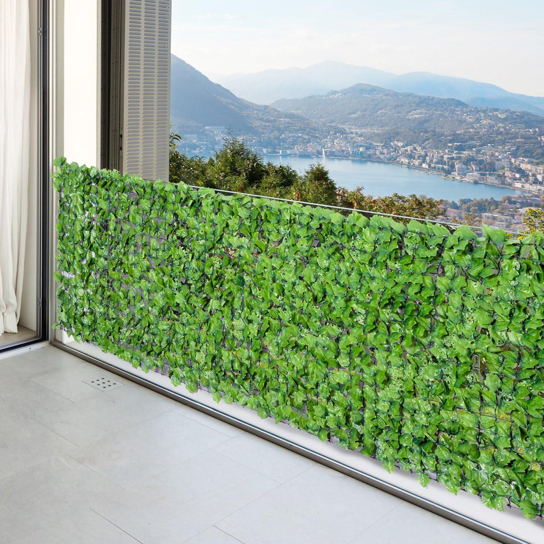 Outsunny K/ünstliche Hecke Sichtschutzhecke Terrasse Wanddekoration Wanddekoration Hellgr/ün 300 x 150 cm