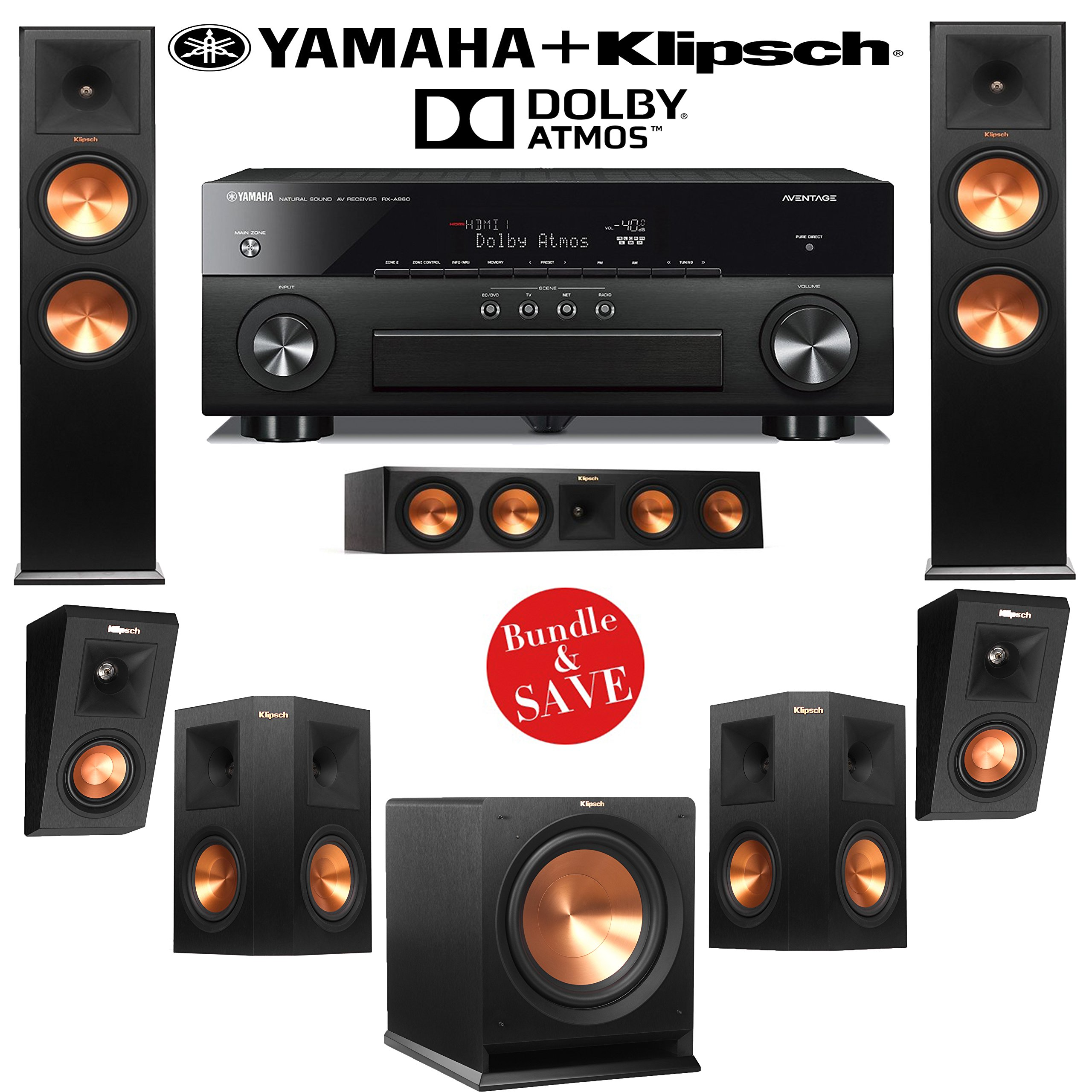 Klipsch RP-280F 5.1.2 Reference Premiere Dolby Atmos Home Theater System with Yamaha RX-A860BL 7.2-Ch A/V Receiver by Klipsch