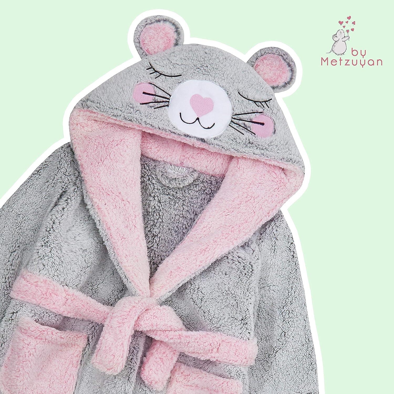 Metzuyan Girls Plush Fleece Cat Dressing Gown with Hood