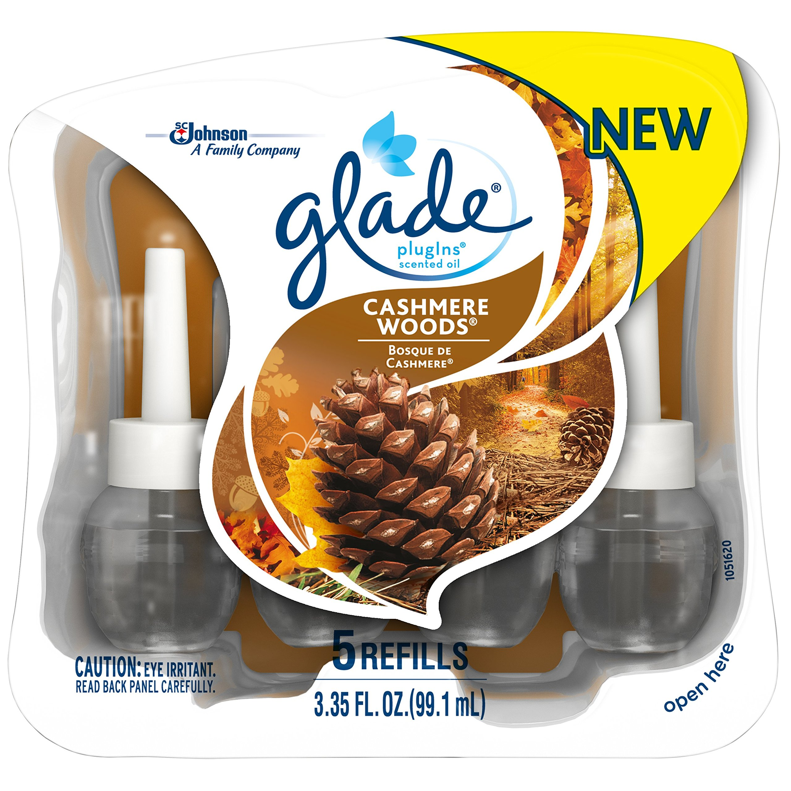 Glade Plugins Scented Oil Air Freshener Refill, Cashmere Woods, 5 Count