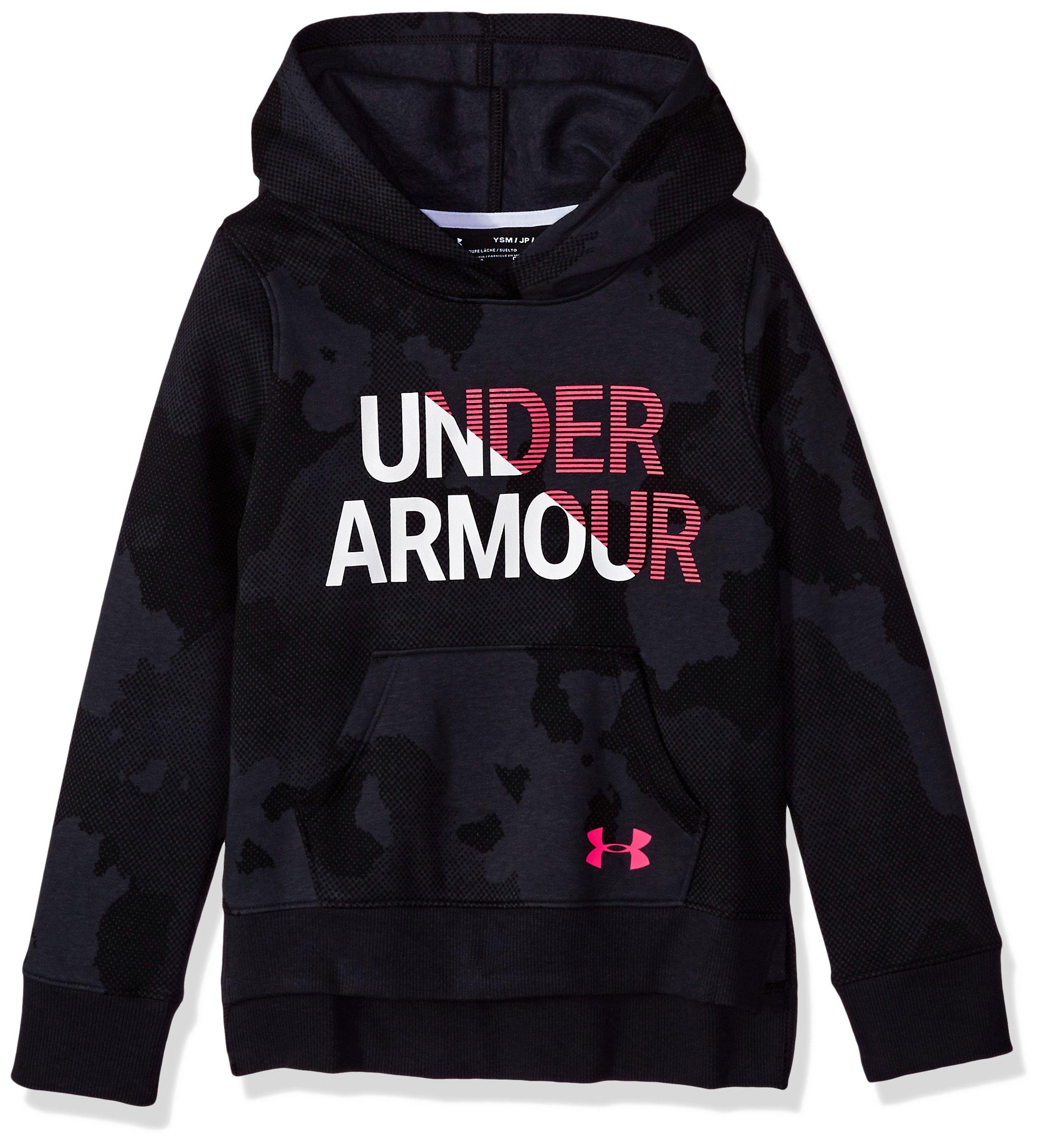 Under Armour Girls Rival Hoodie, Black (001)/Penta Pink, Medium by Under Armour